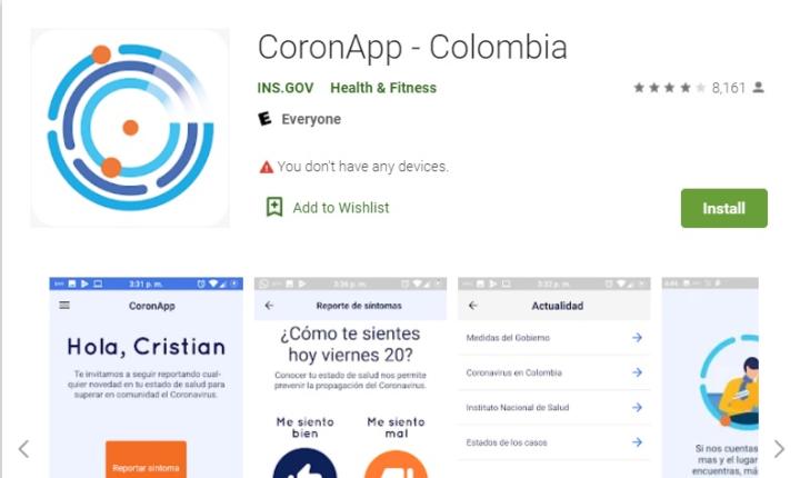 CoronApp-Colombia, la app para estar informado sobre el Covid-19